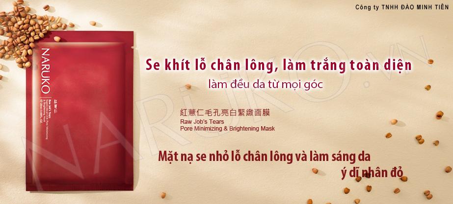 Naruko Ý Dĩ Nhân Đỏ - Hộp 10 Miếng Mặt Nạ Se Khít Lỗ Chân Lông RJT Pore Minimizing And Brightening Mask (25ml / Miếng)